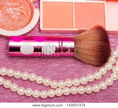 Brush For Makeups Shows Beauty Products And Applicator