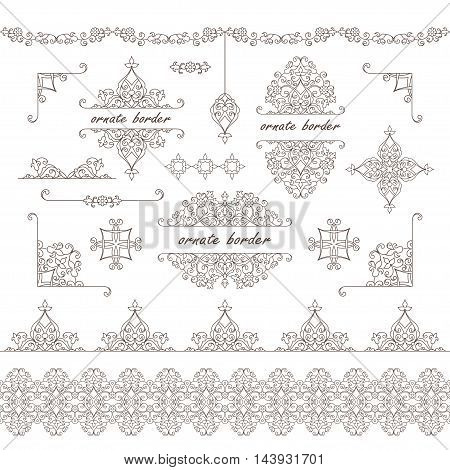 Vector decorative frame. Set elegant element for design template, place for text.Floral border. Lace decor for birthday and greeting card, wedding invitation.