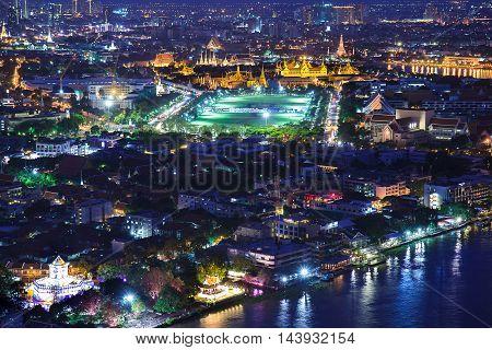 Grand palace at twilight in Bangkok Thailand