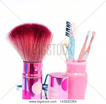 Soft Makeup Brush Shows Beauty Products And Applicator