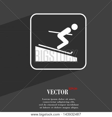 Skier Symbol Flat Modern Web Design With Long Shadow And Space For Your Text. Vector