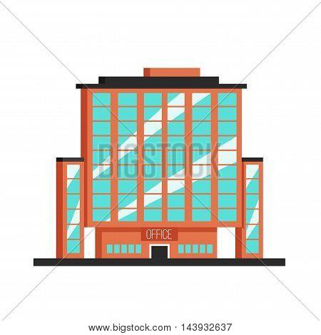 Office building. Flat vector illustration. Constructivism style. Modern architecture. Bright design
