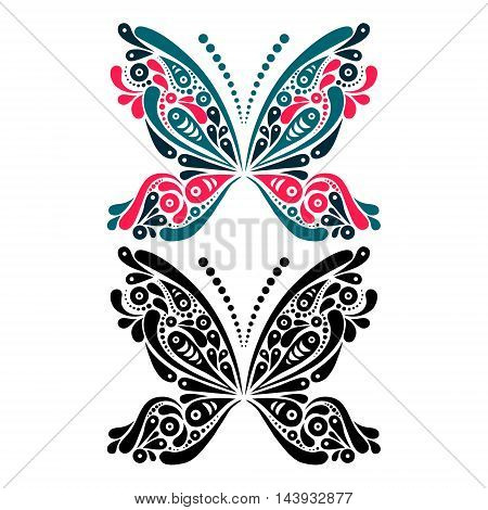 Beautiful butterfly tattoo. Artistic pattern in butterfly shape. Color and black and white version