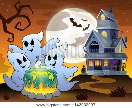 Ghosts stirring potion theme image 3 - eps10 vector illustration.