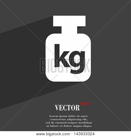Weight Symbol Flat Modern Web Design With Long Shadow And Space For Your Text. Vector