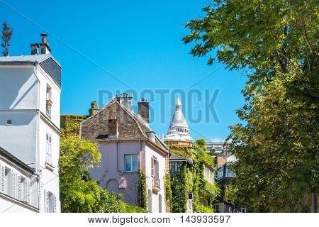 beautiful view Parisian streets in Montmartre, paris France