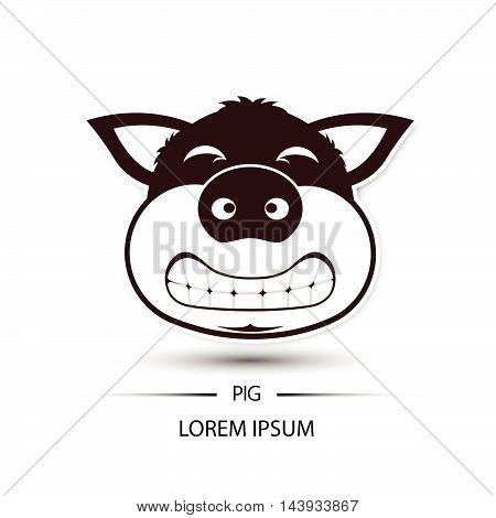 Pig Face Saw Tooth Smile Logo And White Background Vector