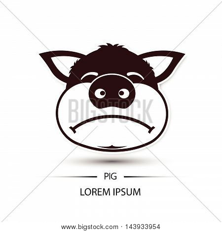Pig Face Frown Logo And White Background Vector