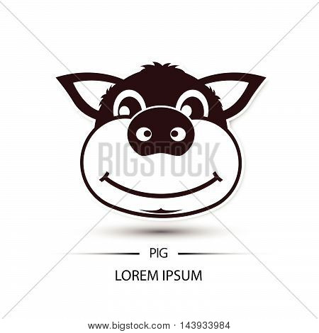 Pig Face Beatific Smile Logo And White Background Vector