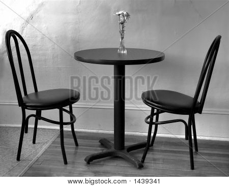Empty Cafe Table Black And White