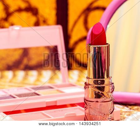 Cosmetic Red Lipstick Indicates Make Up And Facial