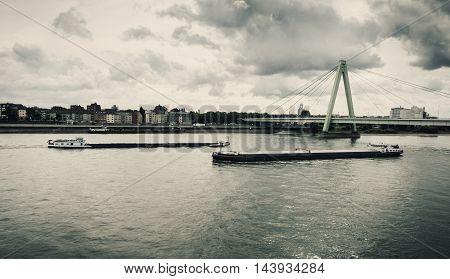 River Rhine Cologne Severinsbruecke Germany water cloudscape