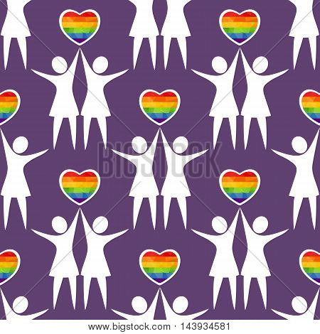 Lesbian couples with hearts silhouettes. Seamless pattern.