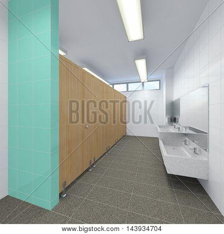 3d illustration of sleek restroom with mirror