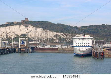Ferry boat moored in Dover Harbour, England