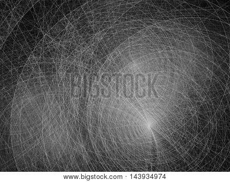 Thin circles black and white fractal computer generated abstract intensity map for overlay or screen