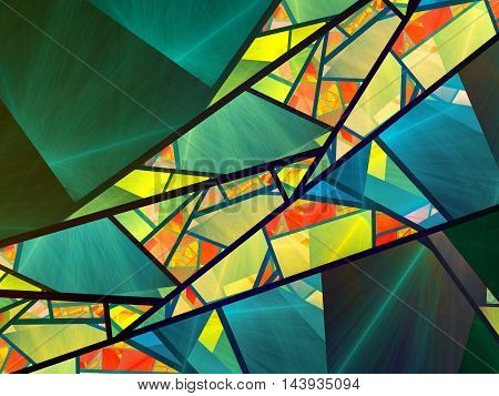 Colorful stained-glass fractal computer generated abstract background