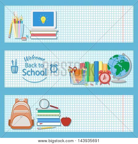 Set of three horizontal banners with school supplies as books, laptop, backpack, pencils, alarm clock, globe, magnifying glass and other. Welcome back to school logo. Education concept. Vector.