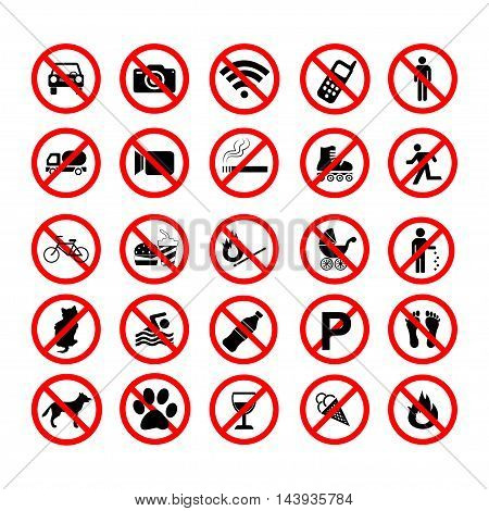 Set ban icons Prohibited symbols red circle signs on white background