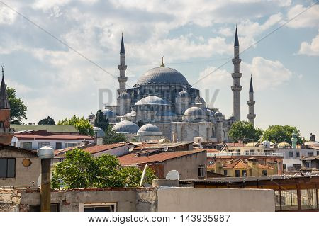 Panoramic view of european part of Istanbul Turkey