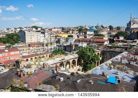 ISTANBUL TURKEY - JUNE 20 2015: Panoramic view of european part of Istanbul Turkey