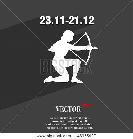 Sagittarius Symbol Flat Modern Web Design With Long Shadow And Space For Your Text. Vector