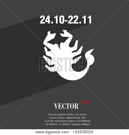 Scorpio Symbol Flat Modern Web Design With Long Shadow And Space For Your Text. Vector