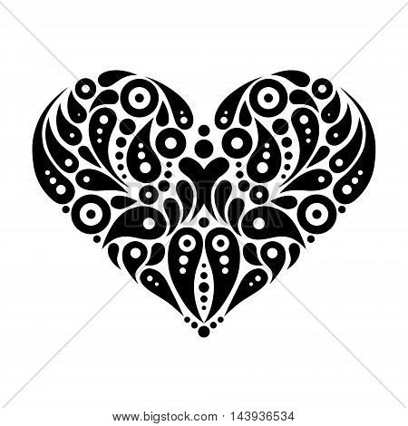 Decorative heart tattoo logo black vector illustration