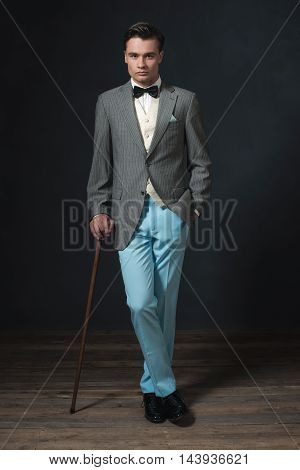 1920S Retro Style Business Man With Cane.