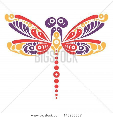 Beautiful dragonfly tattoo. Artistic pattern in butterfly shape