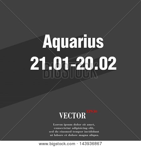 Aquarius Symbol Flat Modern Web Design With Long Shadow And Space For Your Text. Vector