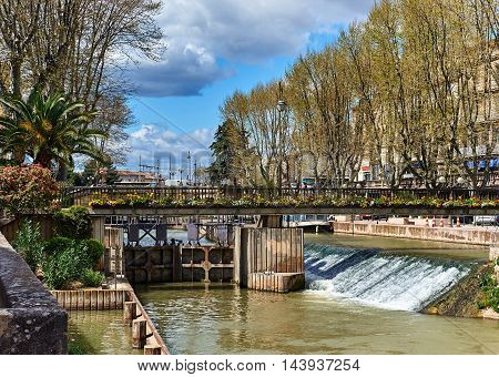 The Canal de la Robine in Narbonne city. Languedoc-Roussillon, France