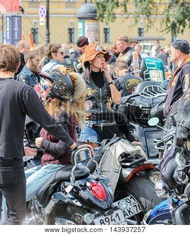 St. Petersburg, Russia - 13 August, Biker and motorcycle,13 August, 2016. The annual International Motor Festival Harley Davidson in St. Petersburg.