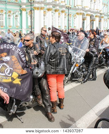 St. Petersburg, Russia - 13 August, Two pairs of bikers from France,13 August, 2016. The annual International Motor Festival Harley Davidson in St. Petersburg.
