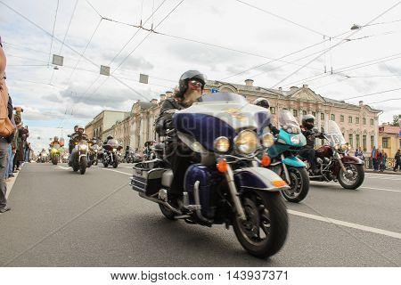 St. Petersburg, Russia - 13 August, Biker with a beard,13 August, 2016. The annual International Motor Festival Harley Davidson in St. Petersburg.