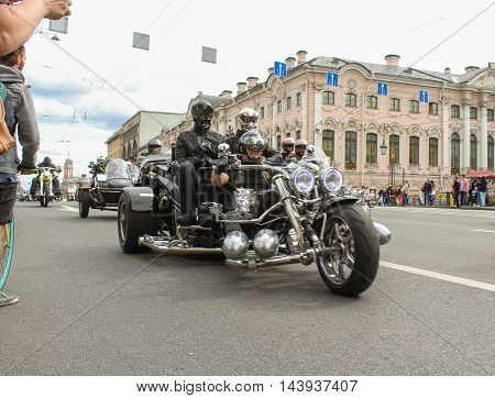 St. Petersburg, Russia - 13 August, Bikers tricycle on Nevsky Prospekt,13 August, 2016. The annual International Motor Festival Harley Davidson in St. Petersburg.