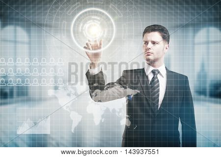 Worried businessman pressing virtual buttons on digital interface with abstract map. Blurry interior background