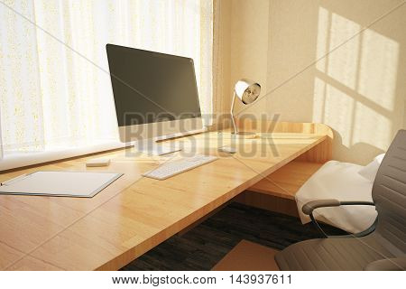 Side view of workplace with blank computer screen in bedroom interior with swivel-chair other objects and sunlight. Mock up 3D Rendering
