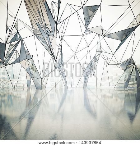 Abstract interior with shiny concrete floor and large polygonal window with city view. 3D Rendering