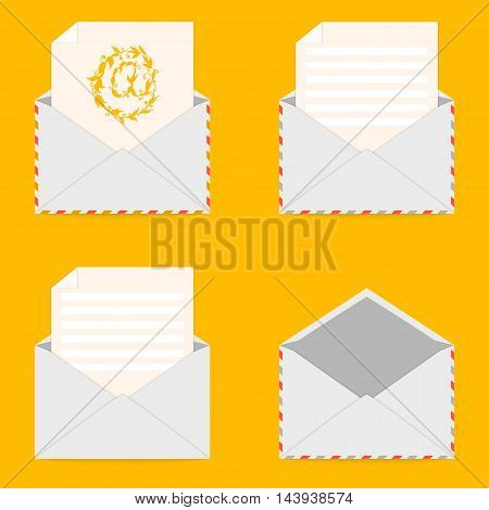 Set of envelopes and letters on yellow background. Correspondence, personal communication, email and spam concept design. Arroba email symbol. Envelope icon. Vector illustration.