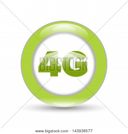 Green 4G sign mobile network icon with shadow