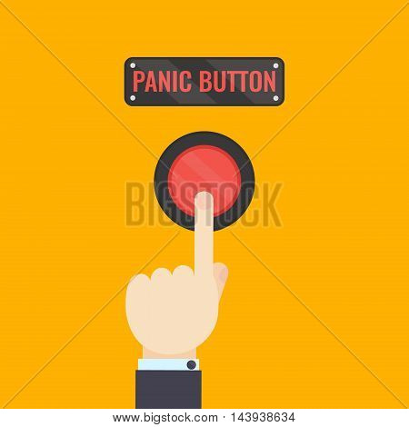 Businessman pressing panic button on yellow background. Social media button. Start up business concept. Vector illustration of a red emergency stop button.Touch, push or press symbol.