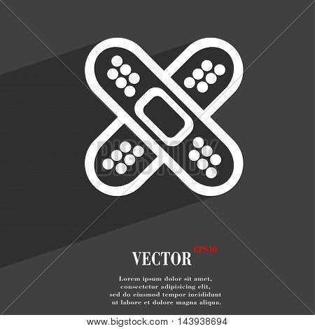 Adhesive Plaster Symbol Flat Modern Web Design With Long Shadow And Space For Your Text. Vector
