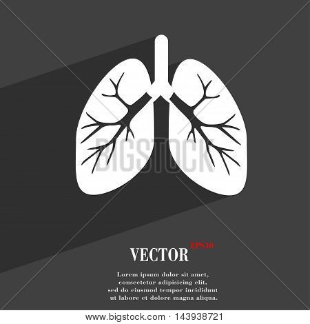 Lungs Symbol Flat Modern Web Design With Long Shadow And Space For Your Text. Vector