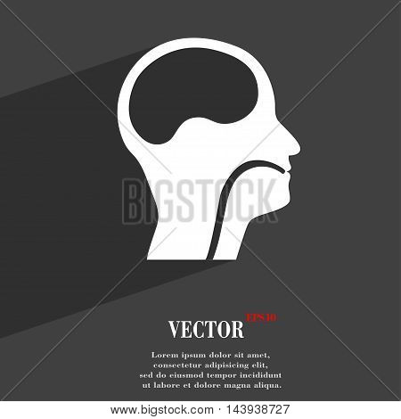 Larynx, Medical Doctors Otolaryngology Symbol Flat Modern Web Design With Long Shadow And Space For