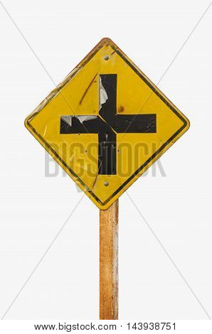 Intersection ahead old road sign on white background