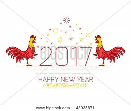 Chinese New Year rooster celebration design template on white background. Greeting card with red cocks - symbol of 2017. Chinese rooster vector illustration.