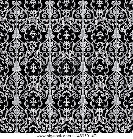 Oriental damask elegant  vector seamless pattern with vintage  white ornaments in Eastern style. Stylish  illustration and 3d vintage decor elements with shadow and highlights. Endless elegant  texture.