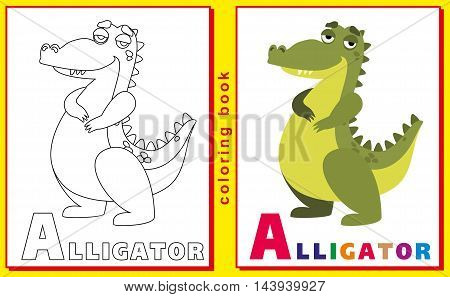 Coloring Book for Kids with letters and words. Litter A. Alligator. vector image.