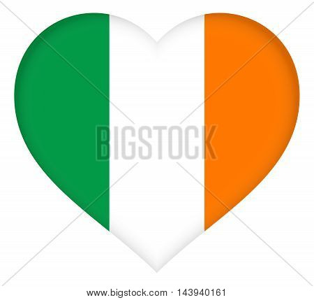 Illustration of the flag of Ireland shaped like a heart